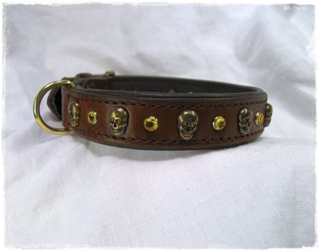 Hundehalsband Brown Skull